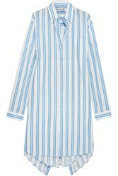 Balenciaga Asymmetric Paneled Striped Cotton Shirt Dress White