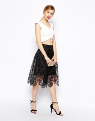 Asos Premium Midi Skirt In Lace Black