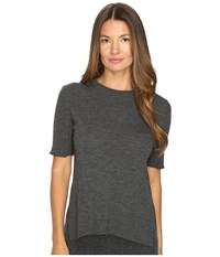 Cashmere In Love Sahar Open Sides Ribbed Tee Flannel Grey Women's T Shirt Gray