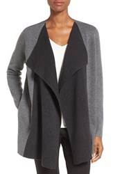 Nordstrom Women's Collection Double Knit Contrast Cashmere Cardigan Grey Phantom Grey Castle