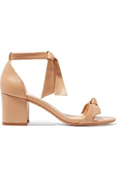 Alexandre Birman Clarita Bow Embellished Leather Sandals Beige
