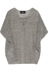 Rory Open Knit Linen Sweater Gray