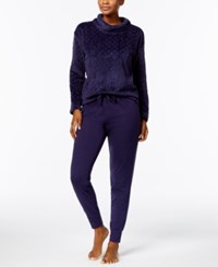 Nautica Plush Textured Top And Jogger Pants Pajama Set Eclipse