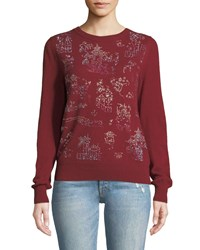 Libertine Chinoiserie Crystalized Crewneck Cashmere Sweater Burgundy