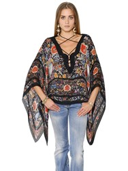 Roberto Cavalli Lace Up Floral Printed Silk Chiffon Top