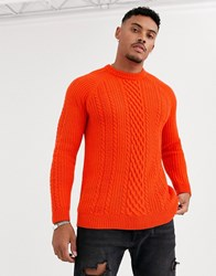 Bershka Cable Knit Sweater In Red