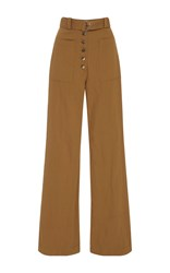 A.L.C. Linen And Silk Blend Twill Wide Leg Pants Brown