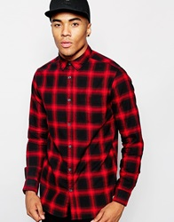 New Look Check Shirt With Long Sleeves Red