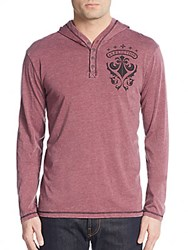Affliction Iron Heart Hooded Henley Top Burgundy