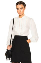 Red Valentino Collared Ruffle Top In White