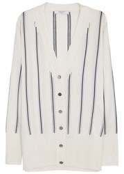 Lanvin Ecru Striped Stretch Knit Cardigan Ivory