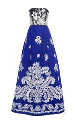 Andrew Gn Strapless Floral Gown Blue