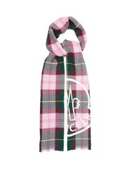 Moncler Logo Print Checked Wool Blend Scarf Pink