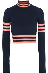 Versace Cropped Striped Stretch Wool Sweater Navy
