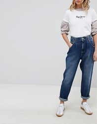 Pepe Jeans Daisie High Waisttapered Mom Jean With Pleat Medium Used Blue