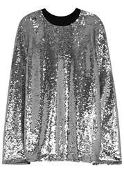 Msgm Silver Sequinned Top