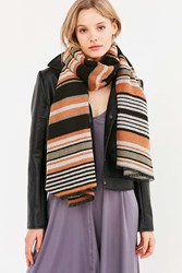 Urban Outfitters Striped Blanket Scarf Cream