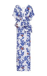 Johanna Ortiz Silk Bluebell Embellished Maxi Dress Royal Blue