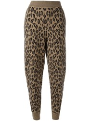 Alexander Wang Leopard Print Track Pants Brown