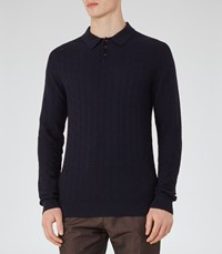 Reiss Sherlock Mens Textured Weave Polo Shirt In Blue