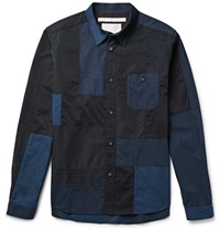 White Mountaineering Slim Fit Patchwork Cotton Poplin Shell And Mesh Shirt Blue