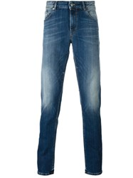 Pt05 Stone Washed Slim Jeans Blue