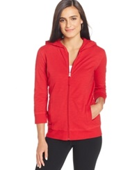 Style And Co. Petite Seamed Zipper Hoodie New Red Am