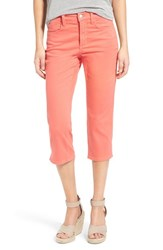 Women's Nydj 'Ariel' Slit Hem High Rise Colored Stretch Crop Jeans Coral Branch