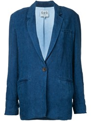 Sea Classic Denim Blazer Women Linen Flax M Blue