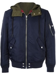 Diesel Panelled Back Hooded Jacket Blue