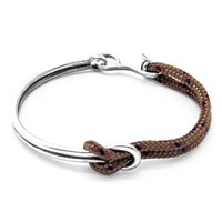 Anchor And Crew Tay Rope Silver Half Banglebrown 23Cm
