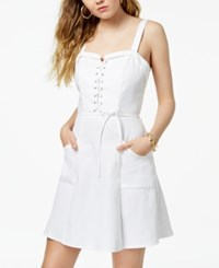 Xoxo Juniors' Lace Up Fit And Flare Dress Cloud Dancer