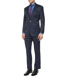 Hugo Boss Slim Fit Striped Two Piece Wool Suit Navy