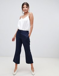 Millie Mackintosh Pinstripe Crop Flare Co Ord Trousers Black