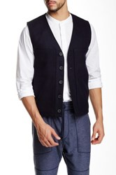 Shades Of Grey Woolen V Neck Gilet Blue
