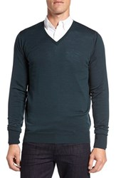 John Smedley Men's 'Bobby' Easy Fit V Neck Wool Sweater Racing Green
