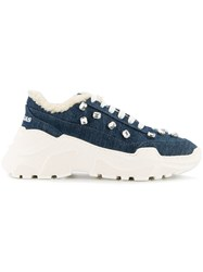 Joshua Sanders Zenith Denim Crystal Sneakers Blue