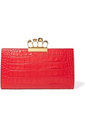 Alexander Mcqueen Knuckle Embellished Croc Effect Leather Clutch Red