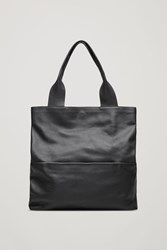 Cos Large Grained Leather Bag Black