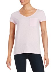 Lord And Taylor Solid V Neck Tee Petal Pink