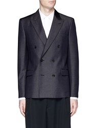 Alexander Mcqueen Double Breasted Wool Mohair Denim Blazer Black