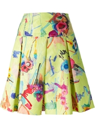 Isola Marras Floral Sketch Print Skirt Yellow And Orange