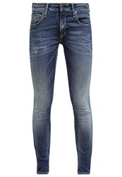 Gsus The Rosa Slim Fit Jeans Dirt Blue Repair Destroyed Denim