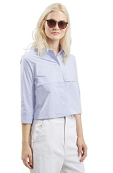 Topshop Stripe Crop Shirt Light Blue