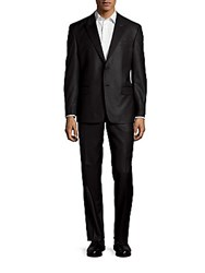 Versace Peaked Lapel Wool Blend Suit Black