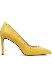 Dkny Evana Studded Lizard Effect Leather Pumps Yellow