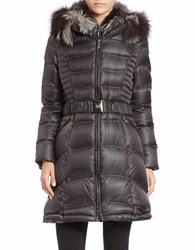 Dawn Levy Fox Fur Trimmed Belted Puffer Coat White