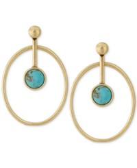 Lucky Brand Gold Tone Blue Stone Orbital Drop Earrings