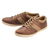 Barbour Weber Leather Lace Up Trainers Dark Brown