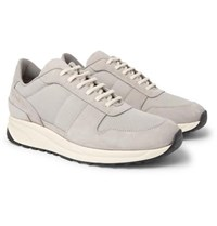 Common Projects Track Vintage Nubuck And Mesh Sneakers Gray